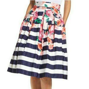 Eliza J Pleated Floral & Striped MIDI Skirt